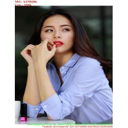 Áo sơ mi nữ công sở sọc xanh trẻ trung và xinh đẹp ASM686