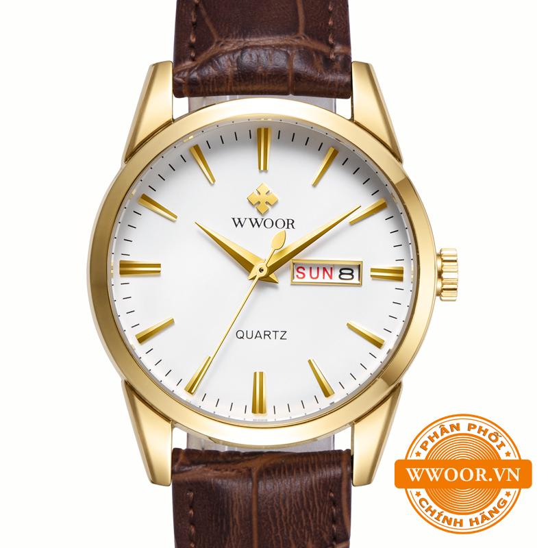 Đồng hồ thời trang nam WWOOR 8801, dây da chính hãng 1