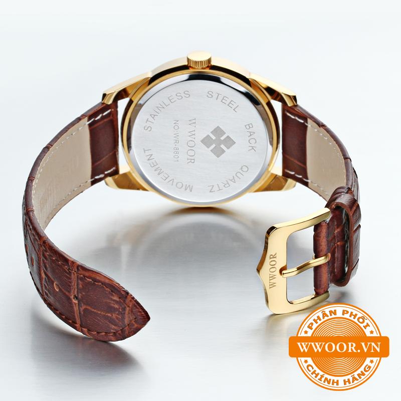 Đồng hồ thời trang nam WWOOR 8801, dây da chính hãng 3