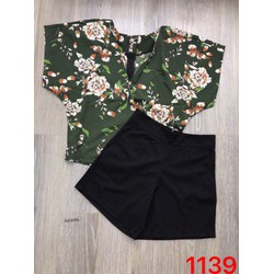 set áo hoa+ quần sort