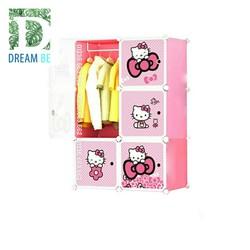 Tủ nhựa  ghép  6 ô hình hello kitty màu hồng