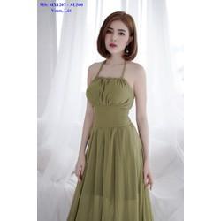 Đầm Maxi Kiểu Cột Cổ Đan Dây Lưng Xẻ Tà Quyến Rũ