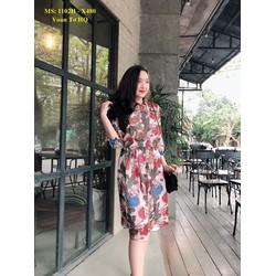 Đầm Xòe Họa Tiết Hoa Bo Eo Xinh Xắn