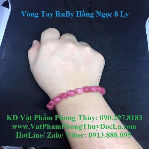 Vòng Đeo Tay  Ruby Hồng Ngọc 8 Ly