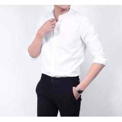 Sơ mi cổ tàu VẢI THÁI BỀN ĐẸP  áo sơ mi nam thời trang chống xù dáng chuẩn CAM KẾT GIỐNG HÌNH [HỖ TRỢ 10K PHÍ VẬN CHUYỂN]