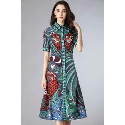 Đầm suông sơ mi họa tiết lá xanh