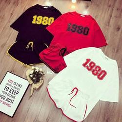 Set áo và quần đùi mặc nhà-Đồ bộ hè mặc nhà-ĐỒ BỘ MẶC NHÀ CHỮ 1980