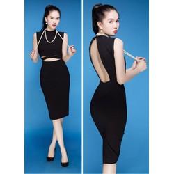 Đầm đen body cutout hở lưng sexy của Ngoc Trinh