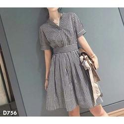 Đầm xòe caro cực đẹp thời trang