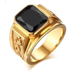 Nhẫn nam rồng   màu vàng đá đen sang trọng