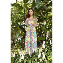 Đầm Maxi Voan Hoa Bẹt Vai Dễ Thương