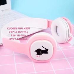 Tai nghe Headphone Hàn Quốc Black Cat có mic siêu cute Giá Lẻ bằng sỉ