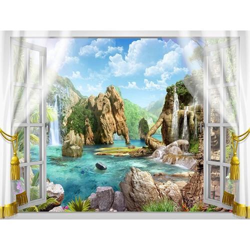 Tranh dán tường cửa sổ 3D VTC VT0322 KT 110 x 90 cm