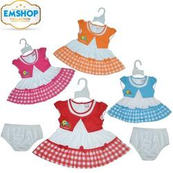 Set 2 Đầm cotton phối sọc cho bé gái từ 4-12 kg kèm quần chip - 2 màu
