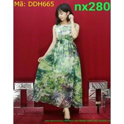 Đầm dự tiệc sát nách họa tiết hoa xinh xắn DDH665