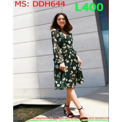 Đầm dự tiệc dài tay vải in hoa nổi bật trẻ trung DDH644