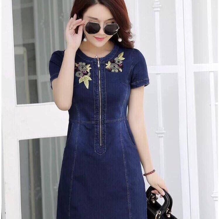 Đầm Jean Phối Hoa MS0766 1