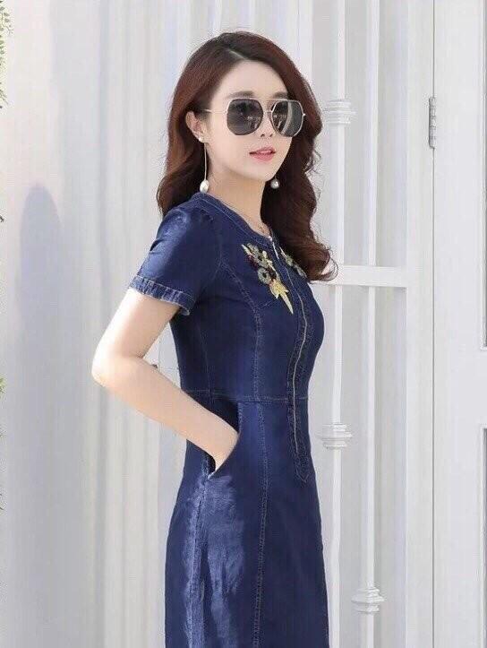 Đầm Jean Phối Hoa MS0766 6