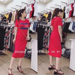 Đầm maxi thun in chữ 2 màu đỏ, đen