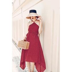 Đầm maxi nữ hoạ tiết chấm bi cực đẹp