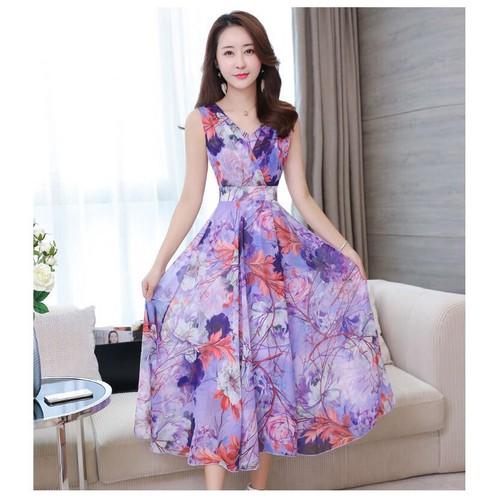 Váy đầm maxi cổ V