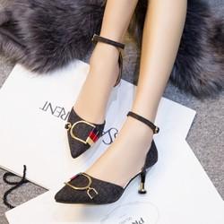 Giày nữ  cao gót chất liệu da tổng hợp - mã GM008