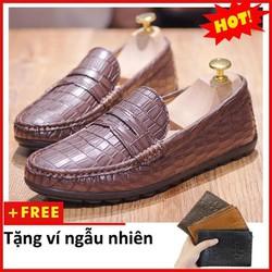 Giày Moca Penny Nam Đẹp Đế Khâu Vân Cá Sấu Màu Nâu+ Tặng Ví Da Bò