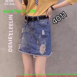 Chân váy jean nữ oat xước bụi bặm cá tính CVJ131