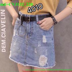 Chân váy jean nữ oat xước bụi bặm cá tính CVJ132