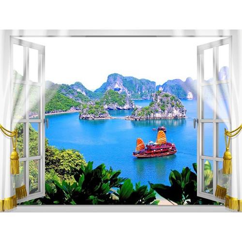 Tranh dán tường cửa sổ 3D VTC VT0347 KT 150 x 110 cm