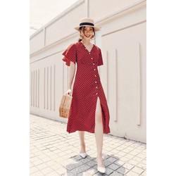 Đầm xoè nữ hoạ tiết chấm bi cực đẹp