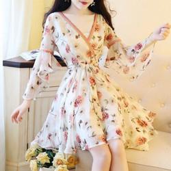 Đầm xoè nữ hoạ tiết hoa cực xinh