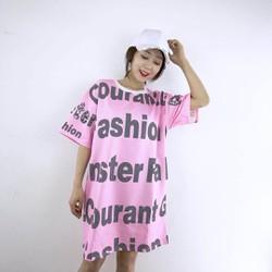 Đầm suông in chữ Fashion