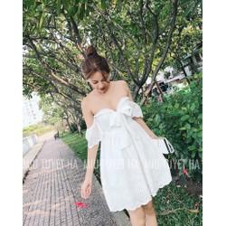 Đầm trắng xoè bẹt vai nơ cổ đẹp dịu dàng tinh tế