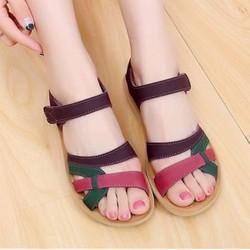 Giày sandal đế bệt nữ phối màu cực đẹp