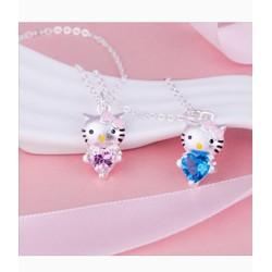 Dây chuyền mặt Mèo Kitty đính hột xamh và hồng