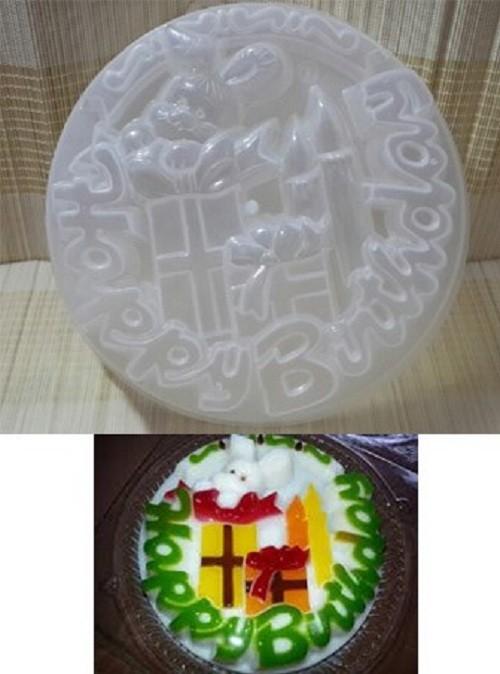 Khuôn rau cau nhựa happy birthday hình nến sinh nhật 20cm