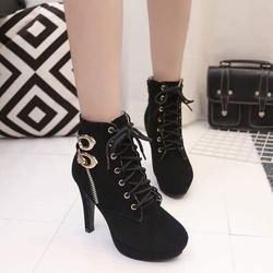 Giày boot nữ cao gót 2 khóa