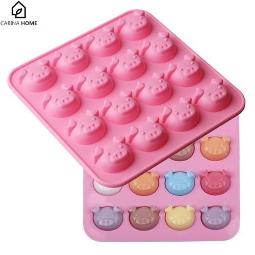 Khuôn silicon 16 mặt heo hồng làm socola Pig shaped mold