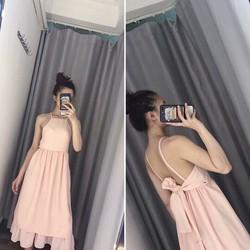 Đầm Maxi nơ lưng Thiết kế
