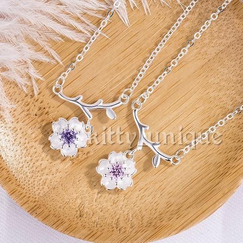 Vòng cổ dây chuyền bạc hoa anh đào cao cấp kiểu dáng Hàn Quốc