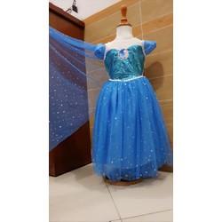 Đầm công chúa elsa kim sa hàng thiết kế tặng kèm phụ kiện