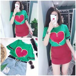 áo thun form rộng trái tim pd75