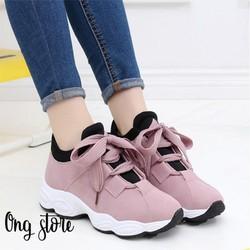 Giày dây to Giày thể thao nữ giày sneaker nữ đế cao kiểu dáng Hàn Quốc