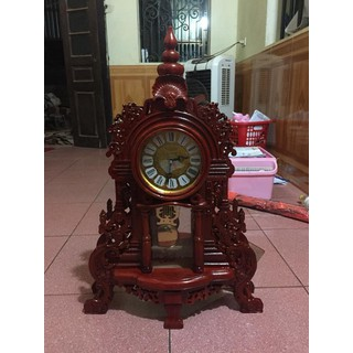 đồng hồ để bàn kiểu phương tây gỗ hương - ĐHDB03 thumbnail