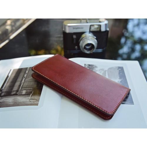Bóp nữ cầm tay - da bò - màu đỏ đô - đồ da handmade SMC004
