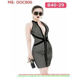 Đầm ôm body cổ trụ xẻ V sâu thời trang sành điệu DOC806