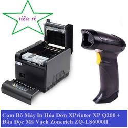 Com Bô Máy In XP-Q200 + Đầu Đọc Mã Vạch  ZQ-LS6000II