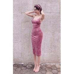 Đầm nhung ôm body thiết kế 2 dây đẹp như Angel Phương Trinh