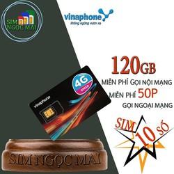 Sim 10 Số 4G Vinaphone Gói VD89P Tặng 120Gb Gọi Miễn Phí